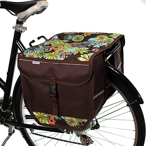 BikyBag Model T - Bicycle Double Panniers Bag Fashion Cycle Bike (Green Meadow)