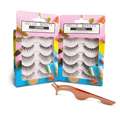 JIMIRE False Eyelashes 10 Pairs Lashes 5 Styles Variety Pack with Free Eyelash Tweezers
