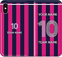 【全機種対応】 サッカー iPhone Xperia Galaxy 楽天Mobile UQ Yモバ Android 楽天Mobile UQ Yモバ Android ユニフォーム カスタム 背番号 スマホケース 手帳型 カバー(品番:JP_04) 01 iPhone5/5s/SE