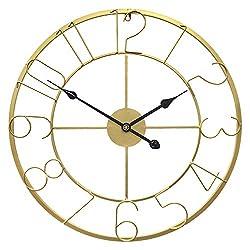 Growsun 24inch Large Wall Clock Silent Modern Fashion Home Décor Display,Gold