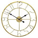 Growsun 30inch Large Wall Clock Metal Modern Fashion Home Décor Living Room Display, Gold