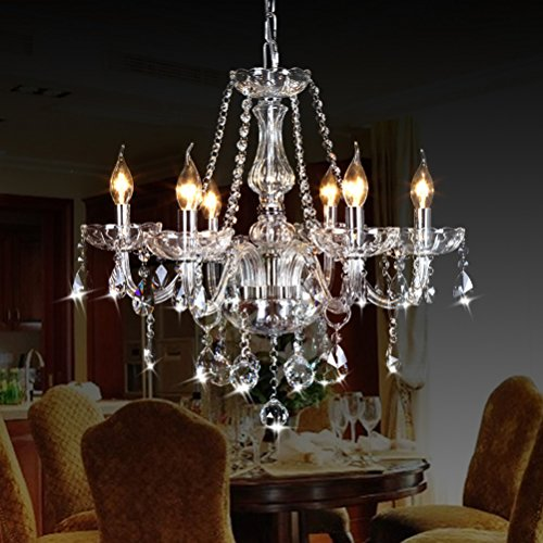 "CRYSTOP Classic Vintage Crystal Candle Chandeliers Lighting 6 Lights Pendant Ceiling Fixture Lamp for Elegant Decoration D23.6"" X L47.2"""