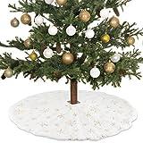 N/S Gonna per Albero di Natale,Gonna per Albero di Natale Bianco - 80 cm Bianco Tappeto, Pelliccia Sintetica Decorazioni Natalizie, per Albero di Natale Decorazione Capodanno casa Festa Forniture (B)