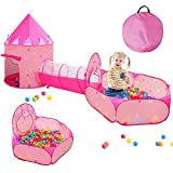 3pc Kids Play Tents for Girls with Ball Pit, Play Tunnel, Princess...