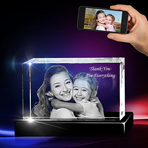 3D Crystal Picture Hand Cut Cube for Mom