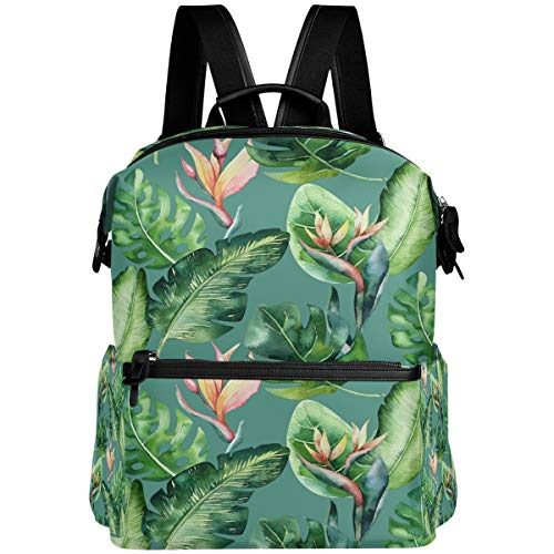Oarencol Aloha-Rucksack, tropische Palmenblätter, Dschungelblume, Canna, Schulbuch, Reisen, Wandern, Camping, Laptop, Tagesrucksack