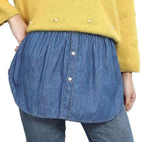 IOOI Mini Rock Shirt Extender Layering Fake Top Halbe Länge Splitting Lower Sweep Set für Frauen (Blue, M / One Size)