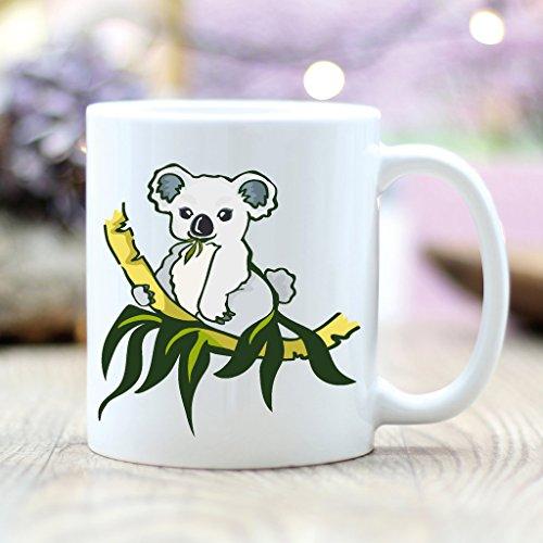 Wandtattoo-Loft Bedruckte Keramiktasse Kleines Koalabärchen mit Eukalyptusbäumchen und Blättern/Koala/beidseitig/Tasse/Becher/Spülmaschinenfest/Kaffeetasse mit Motiv