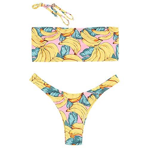ZAFUL Womens Sexy Banana Print High Leg Bandeau Bathing Suit L