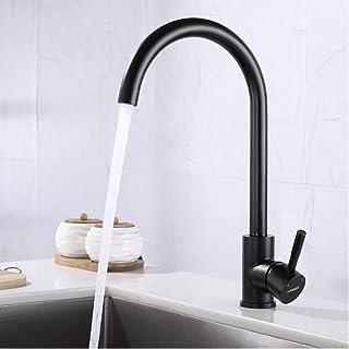 LONHEO Schwarz Küchenarmatur mit 360° drehbar, Einhebelmischer Spültisch Armatur Wasserhahn aus Edelstahl, Spültischarmaturen Mischbatterie für Küche