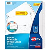 Avery Big Tab Printable White Label Dividers with Easy Peel, 8 Tabs, 4 Sets (14433)