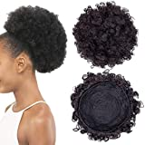 Drawstring Ponytail Extension Afro Puff Short Kinky Curly Hair Bun Extension Donut Chignon Hairpieces Wig Updo Hair Extensions with Two Clips