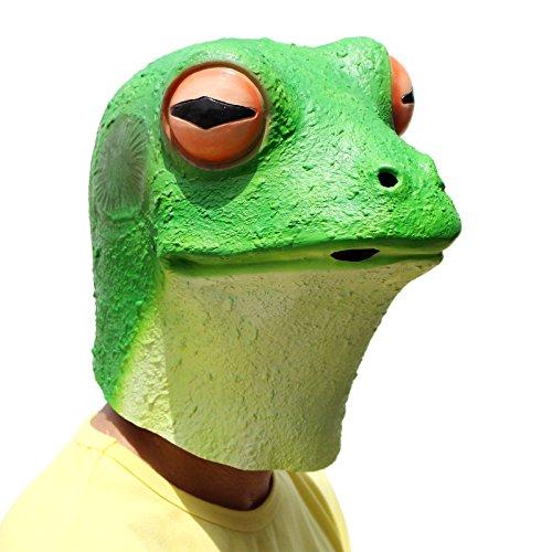 PartyCostume - Frosch Maske - Halloween Kostüm Latex Tier Den Kopf Voll Latex Maske Erwachsene Kinder