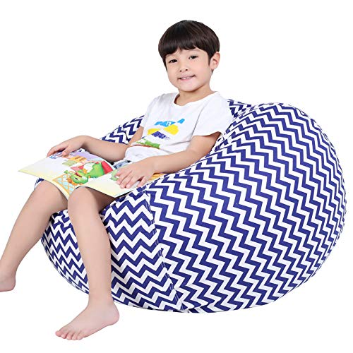 Lukeight Stuffed Animal Storage Bean Bag Chair for Kids, Zipper Storage Bean Bag for Organizing Stuffed Animals, Chevron Bean Bag Chair Cover, (No Beans) Large