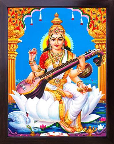 Handicraft Store Göttin Maa Saraswati mit ihrem Saraswati Veena und sitzend auf Lotusblüte, Göttin des Wissens und der Weisheit, Poster Gemälde mit Rahmen für Anbetung, Wissen und Weisheit