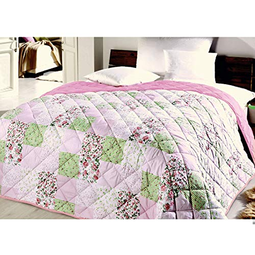 Tagesdecke Bettüberwurf Patchwork gesteppt 220cm x 240cm Überwurf Tages XXL Decke Doppelbett Variante 1