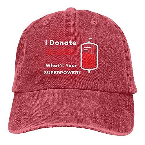I Donate Blood What Your Superpower Gorra de béisbol de algodón de perfil bajo lavado para papá
