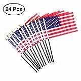 VORCOOL 24 Stücke Amerikanische Hand Fahnen Mini USA National Land Hand Flagge für Paraden Scout Truppen Rückkehr 5,5'x 10,2'