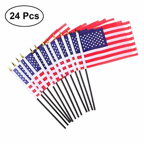 VORCOOL 24 Stücke Amerikanische Hand Fahnen Mini USA National Land Hand Flagge für Paraden Scout Truppen Rückkehr 5,5