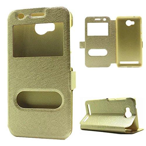 GR Für Huawei Y3 II / Y3 2 PU-Leder mit Ständer Doppel Open Pattern Schutzhülle Volltonfarbe Fenster Seide ( Color : Gold )