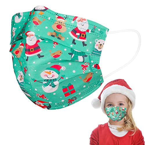 Disposable Face Masks with Santa Claus Snowman Christmas Cartoon Design,Adjustable Nose Clip,50 Pack 3 PLY Breathable Safety Mask Cover Dustproof Protection for Holiday Festival Kids Children,Green