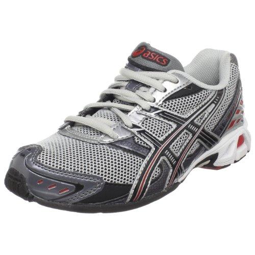 ASICS Little Kid/Big Kid Gel-Antares 3 GS Running Shoe,Lightning/Black/Red,5 M US Big Kid
