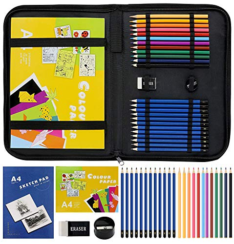 LUCYCAZ Drawing Pencil Set Sketchbook Kit, Charcoal Sketchbook with Pencils and Sketch Pads Art Supplies with Drawing Pad in Art Carrying Case, Travel Sketch Kit for Kids Beginners Adults Artist Teens