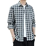 Camisas de Manga Larga a Cuadros para Hombres Camisa Informal Ajuste Regular Primavera Estilo Simple Cómoda Camisa de Manga Larga para Todos los Partidos M