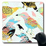 Luancrop Alfombrillas para computadoras Naturaleza Pájaro Artístico Exótico Abstracto Cepillo Blots Diseño Infantil Collage Diseño Antideslizante Oblong Gaming Mouse Pad