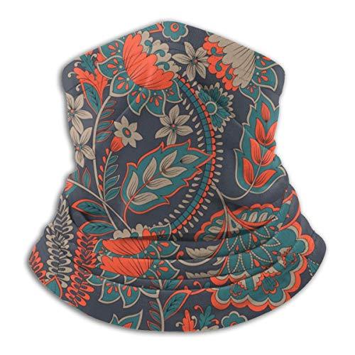Calentador de Cuello de Microfibra Unisex Ilustración de Vector Floral En Estilo Damasco Pasamontañas Sombreros Bufanda para Polvo Viento Protección Solar