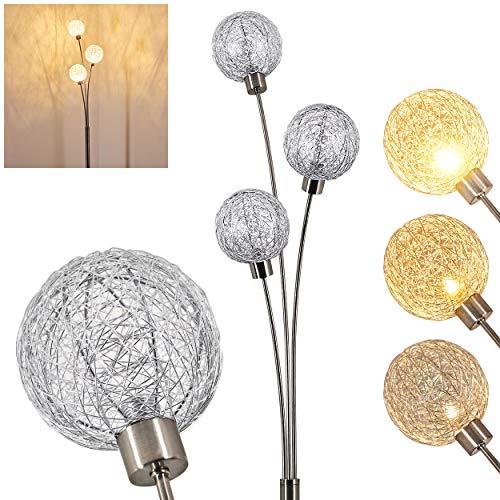Lámpara de pie Bernado regulación sin escala, color níquel mate/plata, 3 llamas, con 3 bolas de alambre, 3 x G9, estilo moderno para salón, dormitorio, vestíbulo e interruptor de pie en el cable