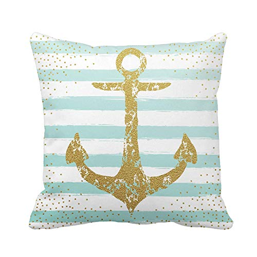 N\A Throw Pillow Cover Navy Vintage Gold Anchor Blue Stripes Funda de Almohada náutica nórdica Marina Funda de Almohada Cuadrada Decorativa para el hogar Funda de cojín