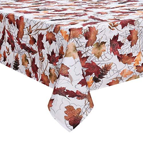 Yastouay Maple Leaf Eckige Tischdecke, wasserdichte Dekorative Tischdecke, Herbst Waschbare Tischdecke Picknick Küche, Polyester, 130x220cm