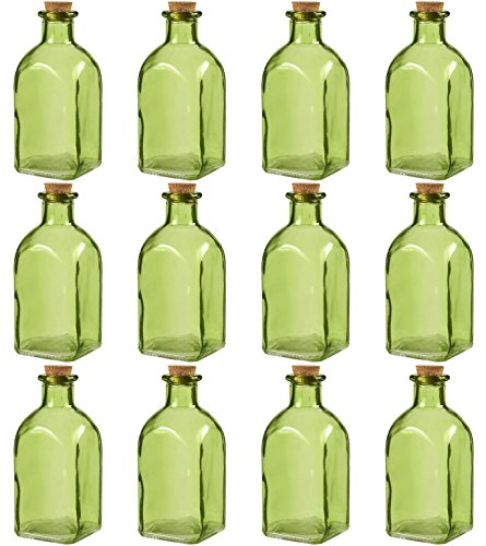 Juvale transparante glazen flessen met kurk deksels 12 Pack kleine groene transparante potten met stoppers voor vintage bruiloft decoratie, DIY, Home, Party Favors, 4.75 x 2 x 2 inch