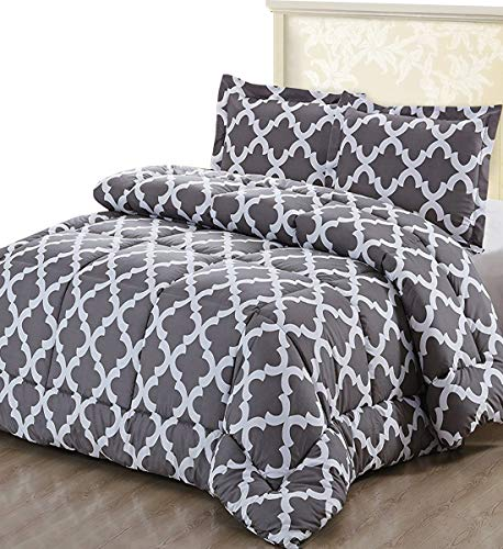Utopia Bedding King Duvet Set - 4.5 Tog Printed Duvet Set King with 2 Oxford Pillowcases - Microfiber Quilt Set King and Two Pillowcases with 5 cm pillow sham (King, Grey)
