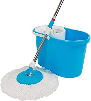 Shivonic® 360° Spin Floor Cleaning Easy Magic Plastic Bucket Mop with 2 Microfiber Heads(Color May Vary)