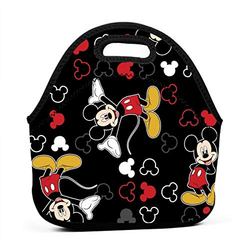 N/A Mickey Mouse Bolsa de Almuerzo pequeña Negra, Bolsa de Picnic con Cremallera para Viajes al Aire Libre
