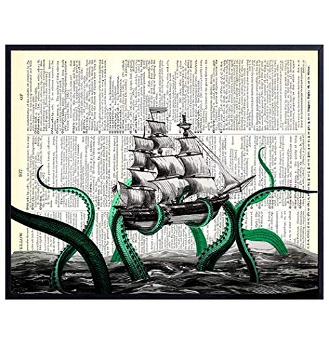 Kraken Octopus Breaking Ship - Dictionary Art – 8x10 Upcycled Home and Wall Decor Poster for Bathroom, Beach or Lake House – Cool Unique Gift for Steampunk Fans – Vintage Unframed Print on Photo Paper
