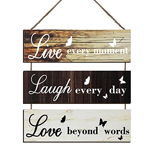 Live Every Moment Hanging Wall Sign, Large Hanging Wall Sign, Rustic Live Every Moment Wooden Sign Decor, Hanging Wood Wall Decoration for Living Room Bedroom Outdoor