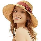 Tacobear Capelines Femme Chapeau de Paille Chapeau de Soleil Eté Pliable Chapeau de Plage Capeline Fedora Soleil Visière Voyage Casquette UV Protection pour Femme (Rouge)