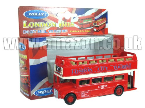 Diecast London Bus Open Top - Pull Back and Go Action [Toy]