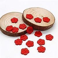 ボタン 100ピース/ロットミックスカラー漫画花ボタン子供服ボタン縫製アクセサリー手作りスクラップブッキング装飾 (Color : Red)