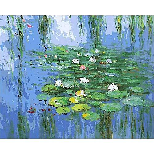 DIY para colorear por números, pinturas de Claude Monet, tipos de lirios de agua, impresión, imágenes de loto, pinturas por números A8, 40x50cm
