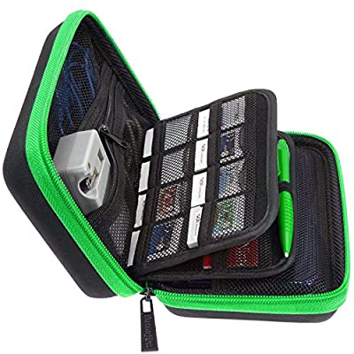 BRENDO New 3DS XL Carrying Case with 24 Game Cartridge Holders and a Large Stylus - BLACK/LIME GREEN (Money Back Guarantee)