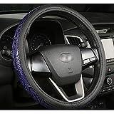 FJW Cuero de la Cubierta del Volante del Coche, Universal de 15 Pulgadas / 38cm Cubierta de la Envoltura del Coche, Respirable Antideslizante Protector para Auto/Camioneta/SUV/Van,Blue