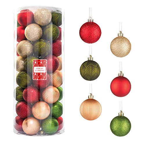 "Every Day is Christmas 50ct 57mm/ 2.24"" Christmas Ornaments, Shatterproof Christmas Tree Ornaments Set, Christmas Balls Decoration (Garden Country Woodland)"