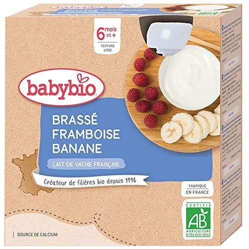 Babybio Lait de vache français - Gourdes Brassé Framboise Banane 4x85 g - 6+ Mois - BIO
