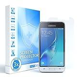 EAZY CASE 3X Bildschirmschutzfolie kompatibel mit Samsung Galaxy J1 (2016), nur 0,05 mm dick I Bildschirmschutz, Schutzfolie, Bildschirmfolie, Transparent/Kristallklar