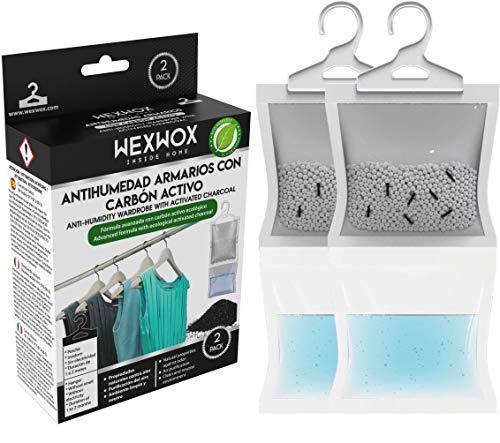Wexwox Nueva Formula Exclusiva con Carbón Activo (440g) Percha Antihumedad y Purificador de Aire para Armario, trastero, Absorbe la Humedad evitando Moho, hasta 60 Días