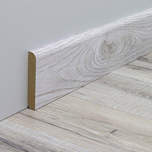 Sockelleiste Fußbodenleiste Standard aus MDF in Eiche Grau Realpore 2600 x 10 x 60 mm - NEU!